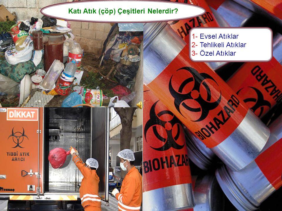 İnsan ve çevre sağlığına zarar vermeyecek şekilde uzaklaştırılması gereken, sıvı içermeyen maddelere katı atık yani çöp denir. Bütün Dünyada olduğu gi