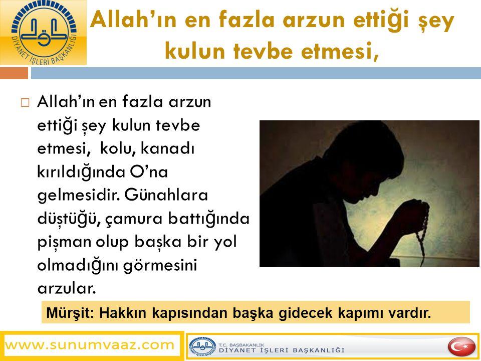 Allah'ın en fazla arzun etti ğ i şey kulun tevbe etmesi,  Allah'ın en fazla arzun etti ğ i şey kulun tevbe etmesi, kolu, kanadı kırıldı ğ ında O'na g