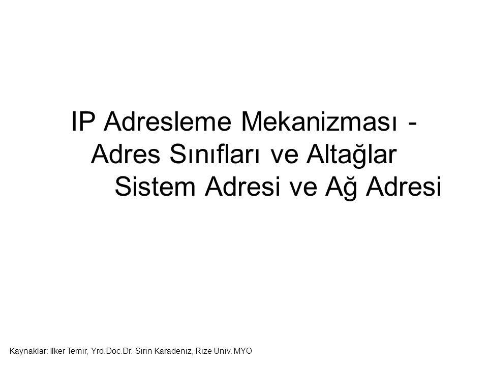 IP Adresleme Mekanizması - Adres Sınıfları ve Altağlar Sistem Adresi ve Ağ Adresi Kaynaklar: Ilker Temir, Yrd.Doc.Dr.