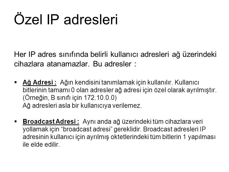 Özel IP adresleri Her IP adres sınıfında belirli kullanıcı adresleri ağ üzerindeki cihazlara atanamazlar.