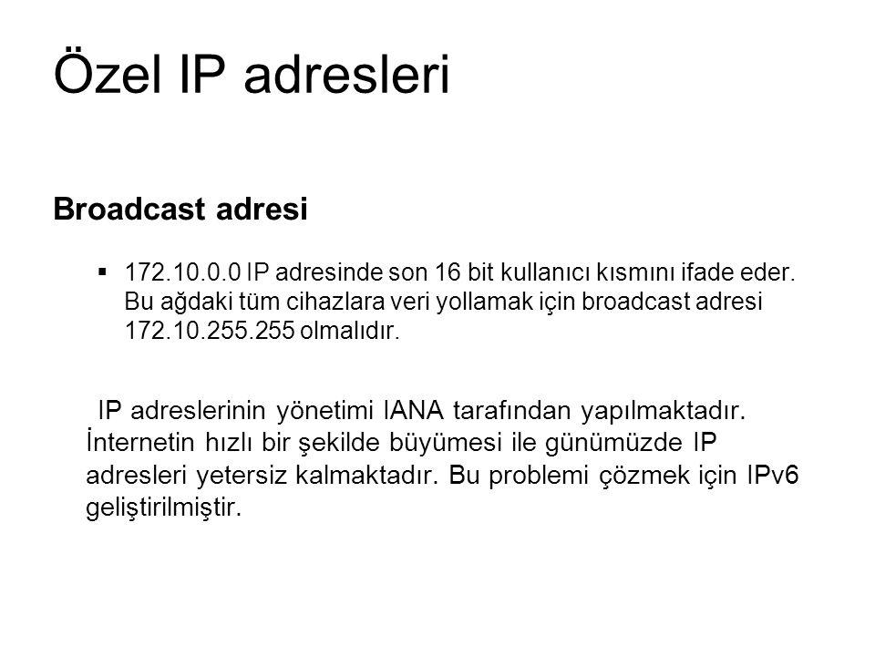 Özel IP adresleri Broadcast adresi  172.10.0.0 IP adresinde son 16 bit kullanıcı kısmını ifade eder.