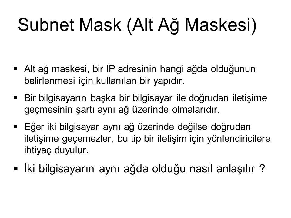 Subnet Mask (Alt Ağ Maskesi)  Alt ağ maskesi, bir IP adresinin hangi ağda olduğunun belirlenmesi için kullanılan bir yapıdır.