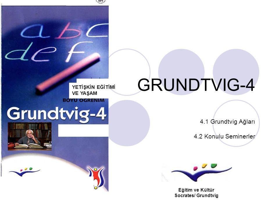 GRUNDTVIG-4 4.1 Grundtvig Ağları 4.2 Konulu Seminerler YETİŞKİN EĞİTİMİ VE YAŞAM Eğitim ve Kültür Socrates/ Grundtvig