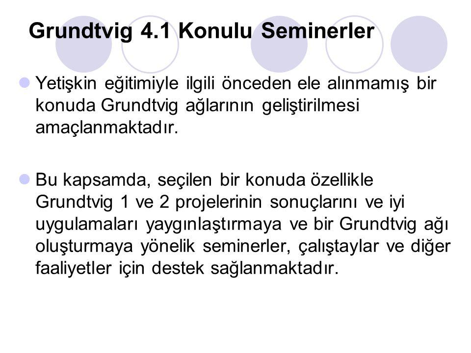 Grundtvig 4.1 Konulu Seminerler Yetişkin eğitimiyle ilgili önceden ele alınmamış bir konuda Grundtvig ağlarının geliştirilmesi amaçlanmaktadır. Bu kap