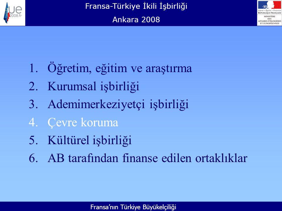 Fransa-Türkiye İkili İşbirliği Ankara 2008 Fransa'nın Türkiye Büyükelçiliği 1.Öğretim, eğitim ve araştırma 2.Kurumsal işbirliği 3.Ademimerkeziyetçi işbirliği 4.Çevre koruma 5.Kültürel işbirliği 6.AB tarafından finanse edilen ortaklıklar