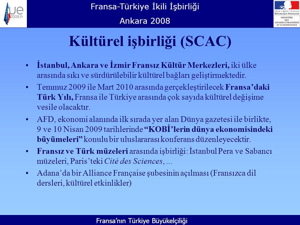 Fransa-Türkiye İkili İşbirliği Ankara 2008 Fransa'nın Türkiye Büyükelçiliği Kültürel işbirliği (SCAC) İstanbul, Ankara ve İzmir Fransız Kültür Merkezleri, iki ülke arasında sıkı ve sürdürülebilir kültürel bağları geliştirmektedir.
