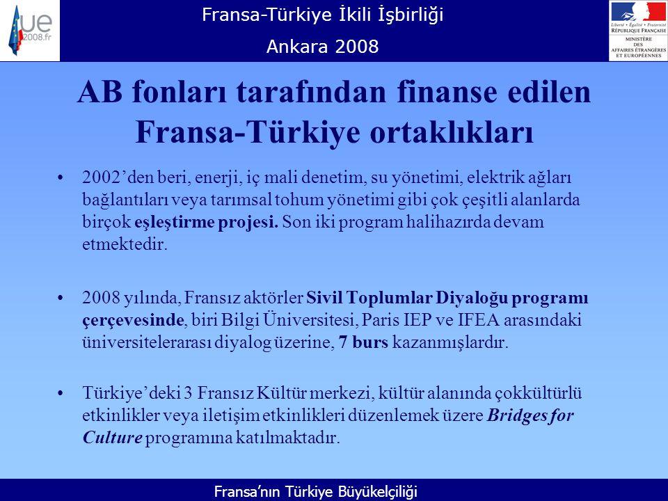 Fransa-Türkiye İkili İşbirliği Ankara 2008 Fransa'nın Türkiye Büyükelçiliği AB fonları tarafından finanse edilen Fransa-Türkiye ortaklıkları 2002'den beri, enerji, iç mali denetim, su yönetimi, elektrik ağları bağlantıları veya tarımsal tohum yönetimi gibi çok çeşitli alanlarda birçok eşleştirme projesi.