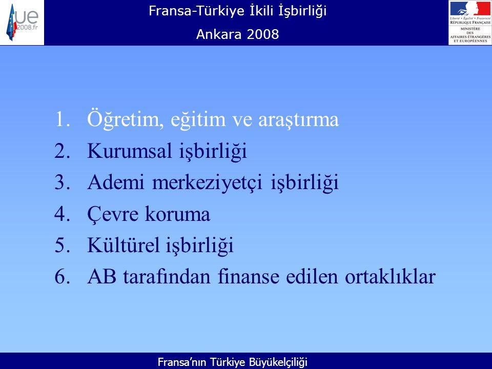 Fransa-Türkiye İkili İşbirliği Ankara 2008 Fransa'nın Türkiye Büyükelçiliği 1.Öğretim, eğitim ve araştırma 2.Kurumsal işbirliği 3.Ademi merkeziyetçi işbirliği 4.Çevre koruma 5.Kültürel işbirliği 6.AB tarafından finanse edilen ortaklıklar