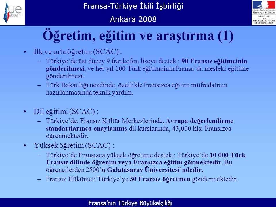 Fransa-Türkiye İkili İşbirliği Ankara 2008 Fransa'nın Türkiye Büyükelçiliği Öğretim, eğitim ve araştırma (1) İlk ve orta öğretim (SCAC) : –Türkiye'de üst düzey 9 frankofon liseye destek : 90 Fransız eğitimcinin gönderilmesi, ve her yıl 100 Türk eğitimcinin Fransa'da mesleki eğitime gönderilmesi.