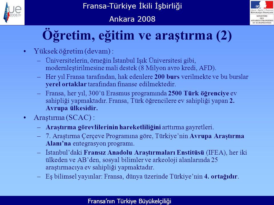 Fransa-Türkiye İkili İşbirliği Ankara 2008 Fransa'nın Türkiye Büyükelçiliği Öğretim, eğitim ve araştırma (2) Yüksek öğretim (devam) : –Üniversitelerin, örneğin İstanbul Işık Üniversitesi gibi, modernleştirilmesine mali destek (8 Milyon avro kredi, AFD).