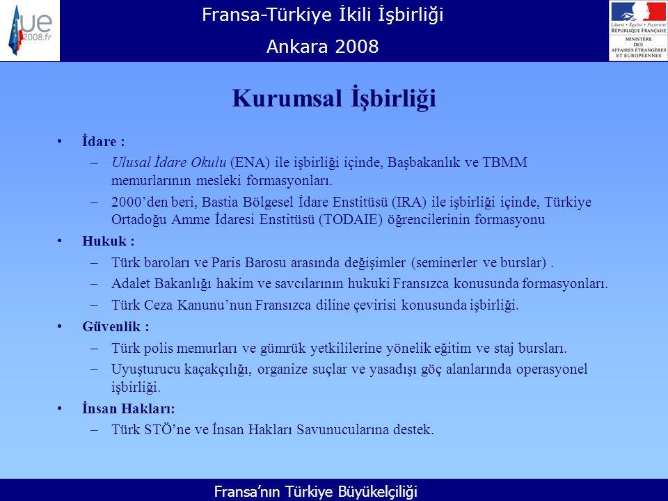 Fransa-Türkiye İkili İşbirliği Ankara 2008 Fransa'nın Türkiye Büyükelçiliği Kurumsal İşbirliği İdare : –Ulusal İdare Okulu (ENA) ile işbirliği içinde, Başbakanlık ve TBMM memurlarının mesleki formasyonları.