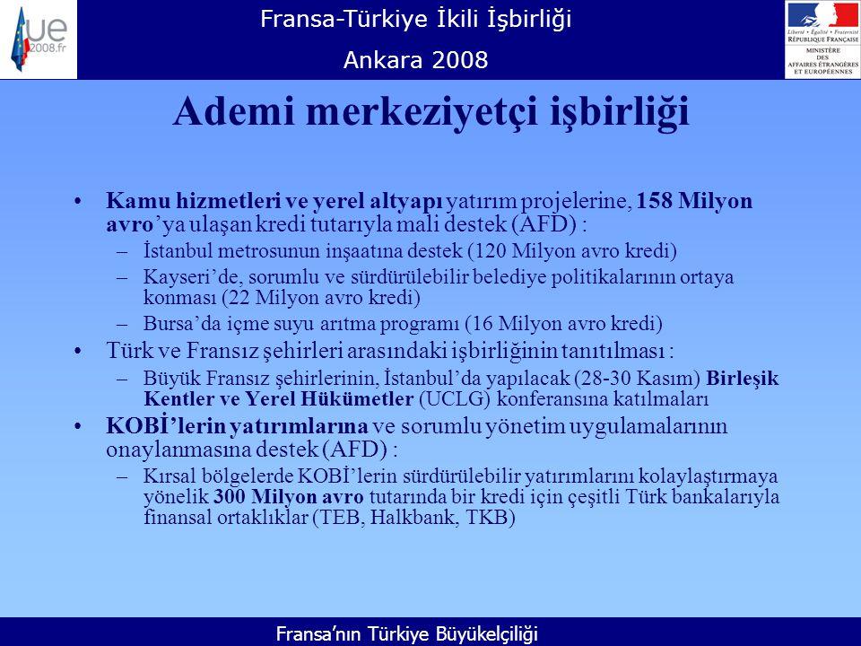 Fransa-Türkiye İkili İşbirliği Ankara 2008 Fransa'nın Türkiye Büyükelçiliği Ademi merkeziyetçi işbirliği Kamu hizmetleri ve yerel altyapı yatırım projelerine, 158 Milyon avro'ya ulaşan kredi tutarıyla mali destek (AFD) : –İstanbul metrosunun inşaatına destek (120 Milyon avro kredi) –Kayseri'de, sorumlu ve sürdürülebilir belediye politikalarının ortaya konması (22 Milyon avro kredi) –Bursa'da içme suyu arıtma programı (16 Milyon avro kredi) Türk ve Fransız şehirleri arasındaki işbirliğinin tanıtılması : –Büyük Fransız şehirlerinin, İstanbul'da yapılacak (28-30 Kasım) Birleşik Kentler ve Yerel Hükümetler (UCLG) konferansına katılmaları KOBİ'lerin yatırımlarına ve sorumlu yönetim uygulamalarının onaylanmasına destek (AFD) : –Kırsal bölgelerde KOBİ'lerin sürdürülebilir yatırımlarını kolaylaştırmaya yönelik 300 Milyon avro tutarında bir kredi için çeşitli Türk bankalarıyla finansal ortaklıklar (TEB, Halkbank, TKB)