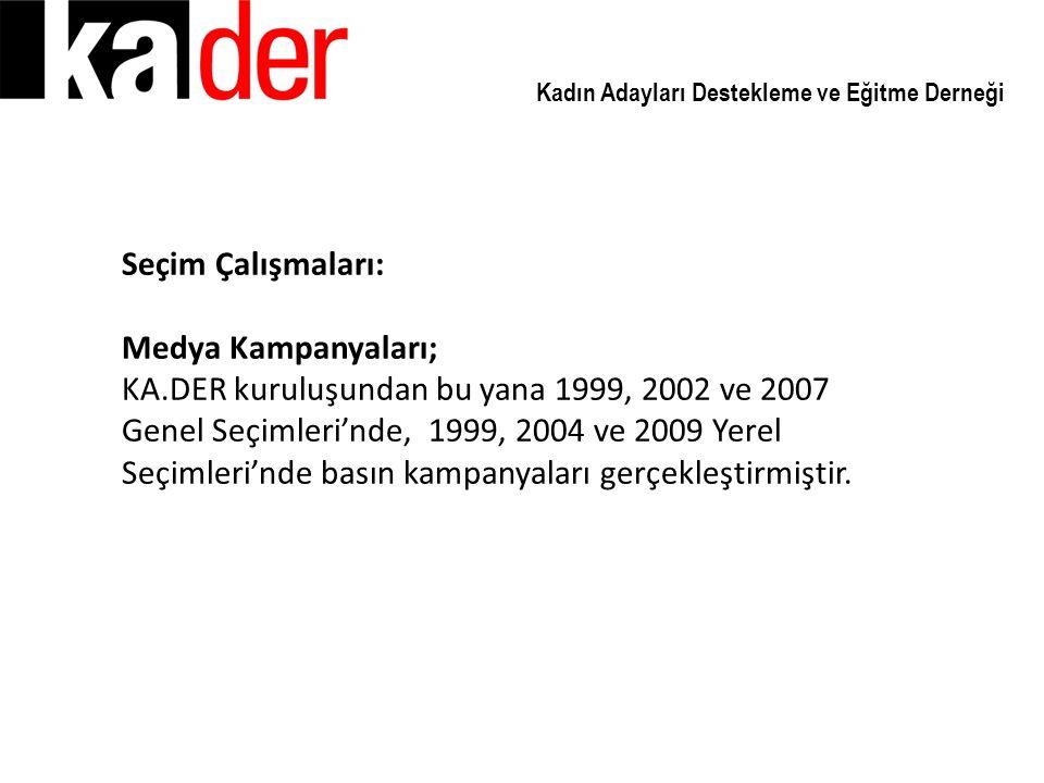 Kadın Adayları Destekleme ve Eğitme Derneği Seçim Çalışmaları: Medya Kampanyaları; KA.DER kuruluşundan bu yana 1999, 2002 ve 2007 Genel Seçimleri'nde,