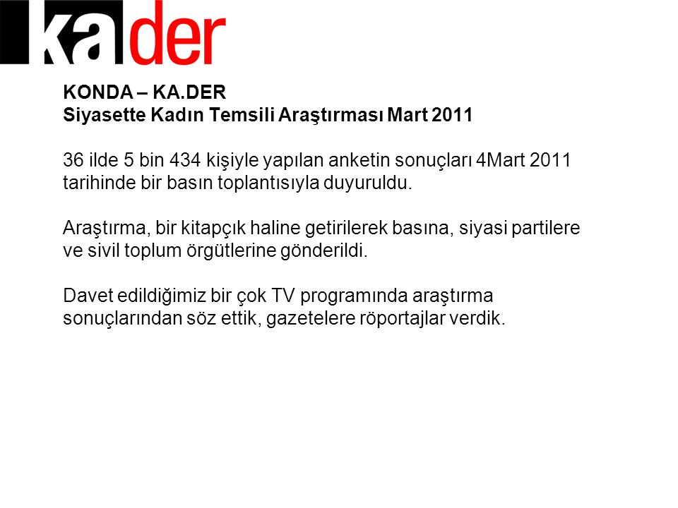 KONDA – KA.DER Siyasette Kadın Temsili Araştırması Mart 2011 36 ilde 5 bin 434 kişiyle yapılan anketin sonuçları 4Mart 2011 tarihinde bir basın toplan