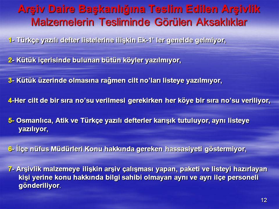 Arşiv Daire Başkanlığına Teslim Edilen Arşivlik Malzemelerin Tesliminde Görülen Aksaklıklar 1- Türkçe yazılı defter listelerine ilişkin Ek-1' ler gene