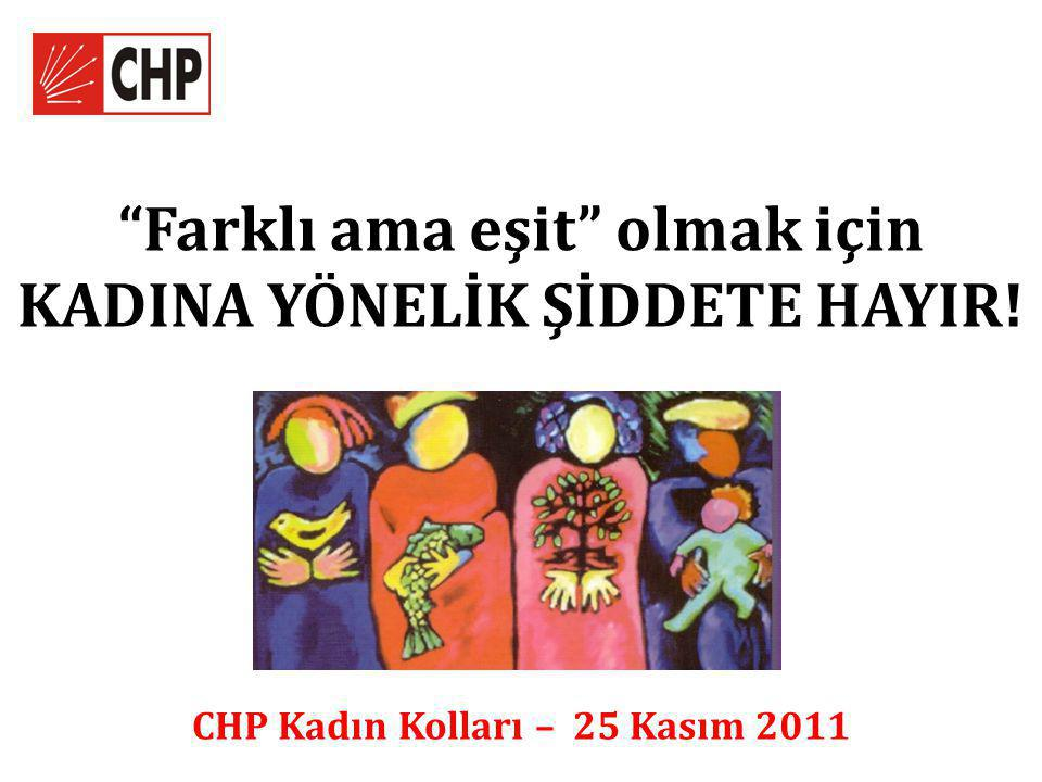 Farklı ama eşit olmak için KADINA YÖNELİK ŞİDDETE HAYIR! CHP Kadın Kolları – 25 Kasım 2011