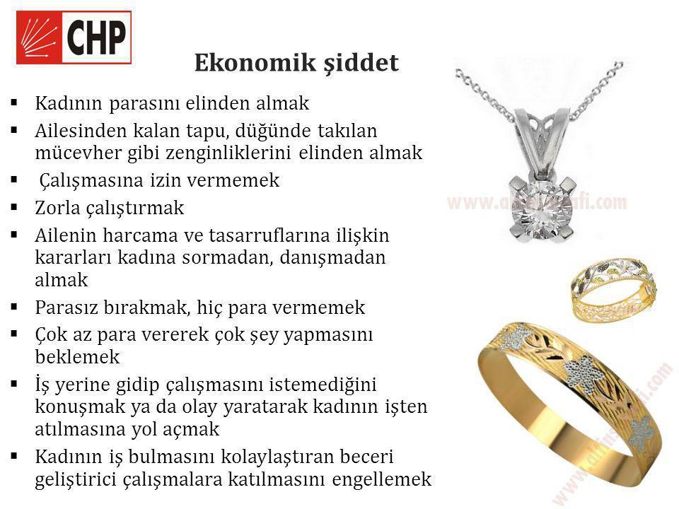 Ekonomik şiddet  Kadının parasını elinden almak  Ailesinden kalan tapu, düğünde takılan mücevher gibi zenginliklerini elinden almak  Çalışmasına izin vermemek  Zorla çalıştırmak  Ailenin harcama ve tasarruflarına ilişkin kararları kadına sormadan, danışmadan almak  Parasız bırakmak, hiç para vermemek  Çok az para vererek çok şey yapmasını beklemek  İş yerine gidip çalışmasını istemediğini konuşmak ya da olay yaratarak kadının işten atılmasına yol açmak  Kadının iş bulmasını kolaylaştıran beceri geliştirici çalışmalara katılmasını engellemek