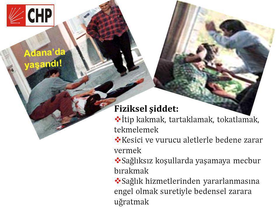 Adana'da yaşandı! Fiziksel şiddet:  İtip kakmak, tartaklamak, tokatlamak, tekmelemek  Kesici ve vurucu aletlerle bedene zarar vermek  Sağlıksız koş