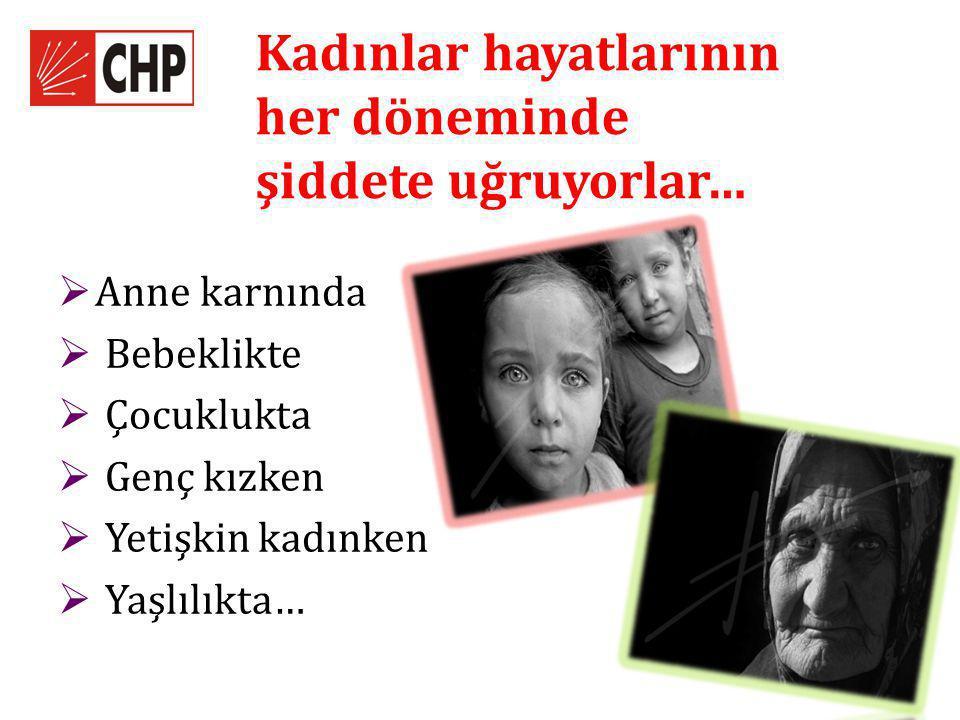 Kadınlar hayatlarının her döneminde şiddete uğruyorlar…  Anne karnında  Bebeklikte  Çocuklukta  Genç kızken  Yetişkin kadınken  Yaşlılıkta…