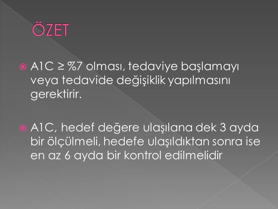  A1C ≥ %7 olması, tedaviye başlamayı veya tedavide değişiklik yapılmasını gerektirir.  A1C, hedef değere ulaşılana dek 3 ayda bir ölçülmeli, hedefe