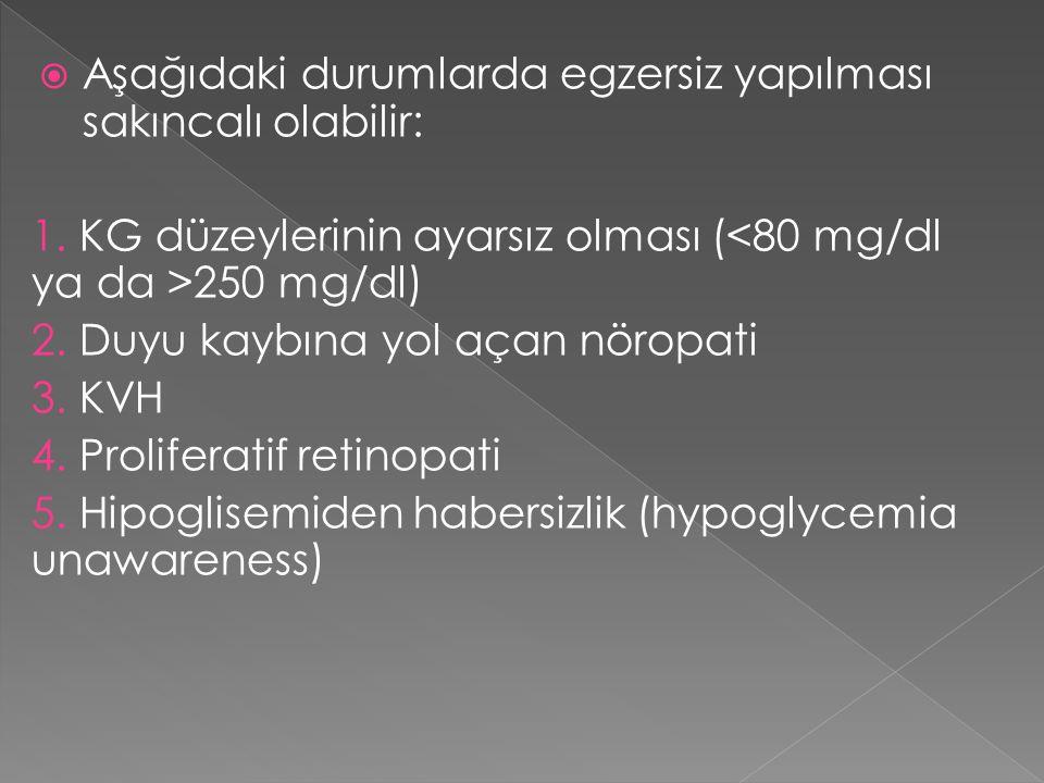  Aşağıdaki durumlarda egzersiz yapılması sakıncalı olabilir: 1. KG düzeylerinin ayarsız olması ( 250 mg/dl) 2. Duyu kaybına yol açan nöropati 3. KVH