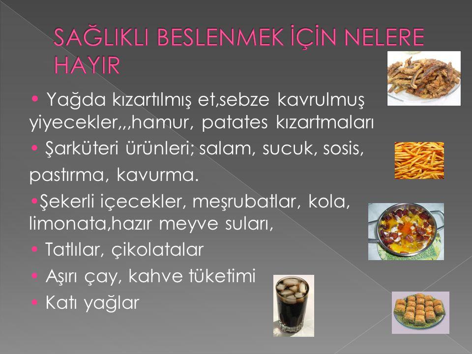 Yağda kızartılmış et,sebze kavrulmuş yiyecekler,,,hamur, patates kızartmaları Şarküteri ürünleri; salam, sucuk, sosis, pastırma, kavurma. Şekerli içec