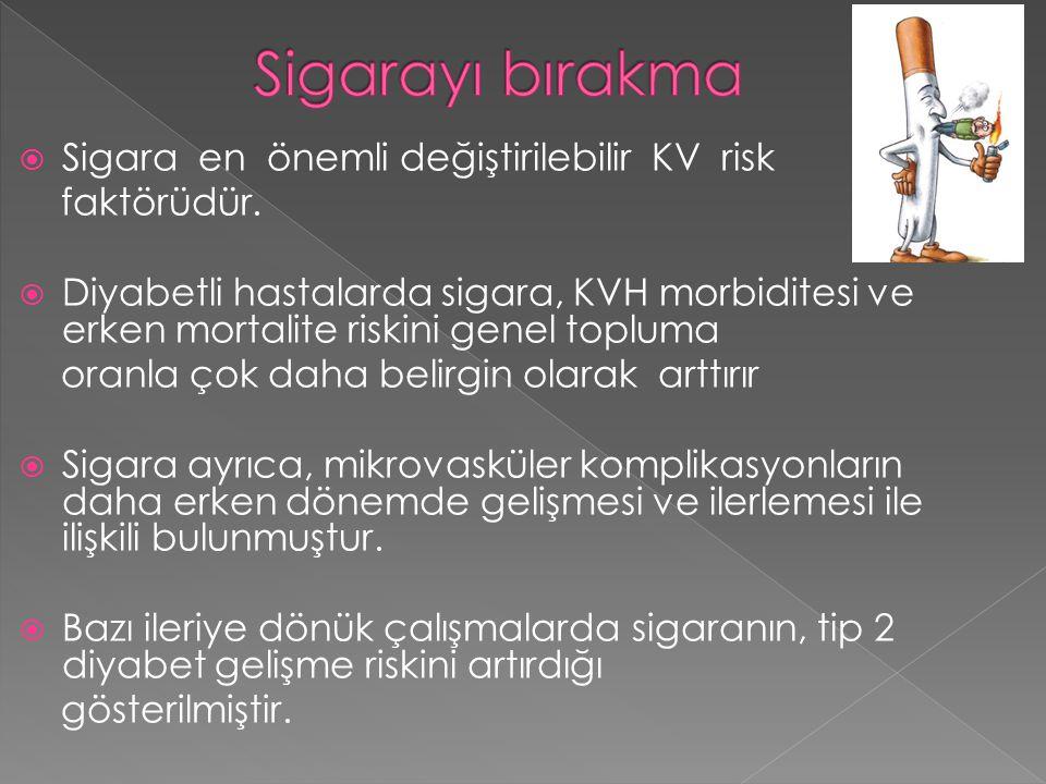  Sigara en önemli değiştirilebilir KV risk faktörüdür.  Diyabetli hastalarda sigara, KVH morbiditesi ve erken mortalite riskini genel topluma oranla