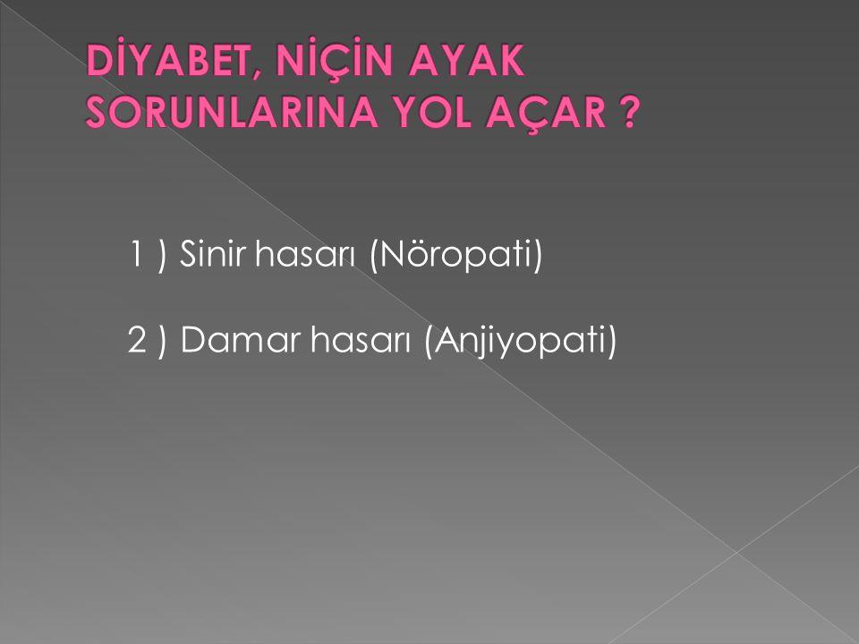 1 ) Sinir hasarı (Nöropati) 2 ) Damar hasarı (Anjiyopati)
