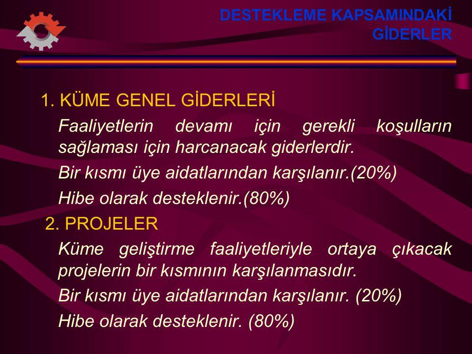 DESTEKLEME KAPSAMINDAKİ GİDERLER 1.