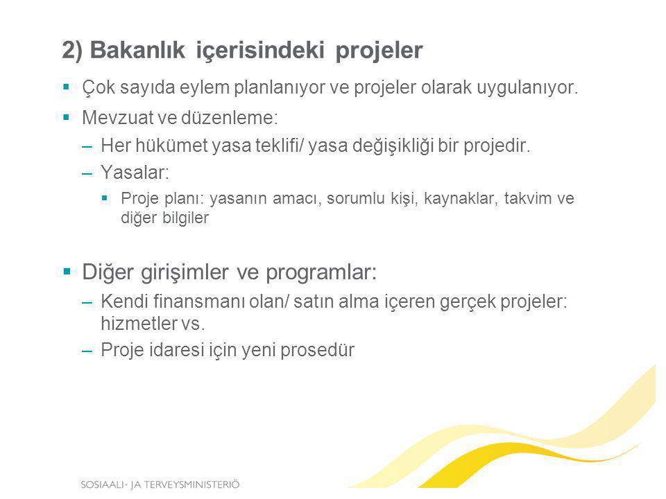 2) Bakanlık içerisindeki projeler  Çok sayıda eylem planlanıyor ve projeler olarak uygulanıyor.