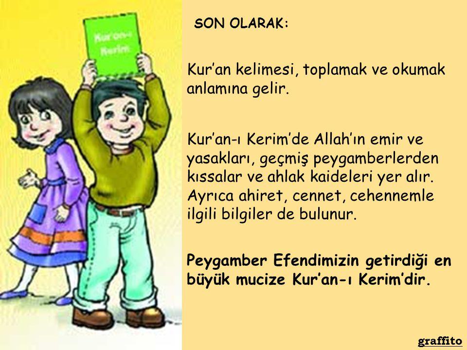 Kur'an-ı Kerim'de Allah'ın emir ve yasakları, geçmiş peygamberlerden kıssalar ve ahlak kaideleri yer alır. Ayrıca ahiret, cennet, cehennemle ilgili bi