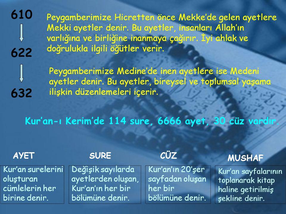 610 622 632 Peygamberimize Hicretten önce Mekke'de gelen ayetlere Mekki ayetler denir. Bu ayetler, insanları Allah'ın varlığına ve birliğine inanmaya