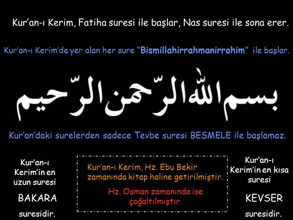 """Kur'an-ı Kerim, Fatiha suresi ile başlar, Nas suresi ile sona erer. Kur'an-ı Kerim'de yer alan her sure """"Bismillahirrahmanirrahim"""" ile başlar. Kur'an'"""