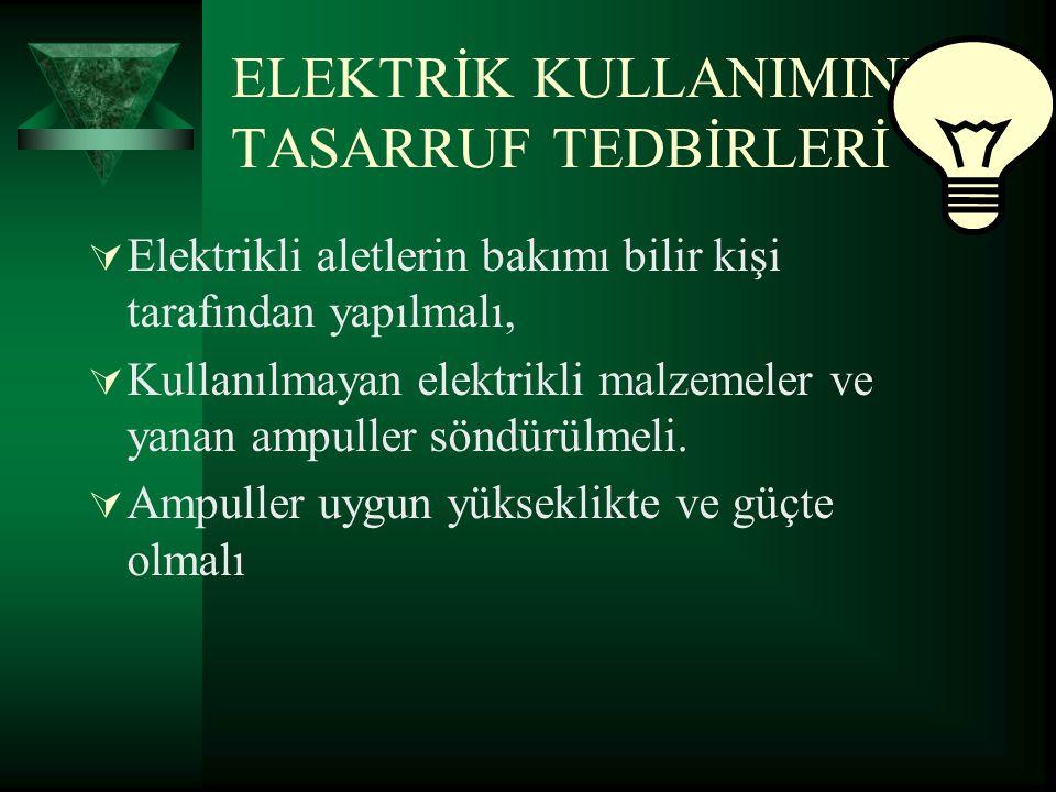 ELEKTRİK KULLANIMINDA TASARRUF TEDBİRLERİ  Elektrikli aletlerin bakımı bilir kişi tarafından yapılmalı,  Kullanılmayan elektrikli malzemeler ve yana