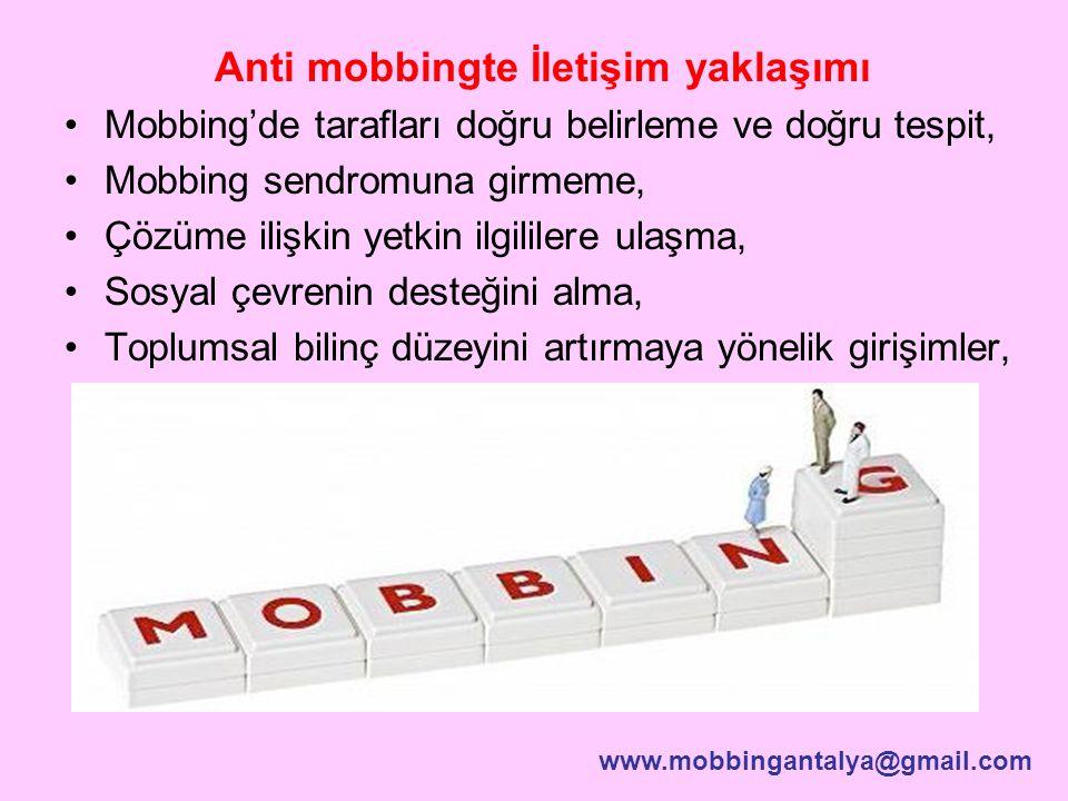 Anti mobbingte İletişim yaklaşımı Mobbing'de tarafları doğru belirleme ve doğru tespit, Mobbing sendromuna girmeme, Çözüme ilişkin yetkin ilgililere u