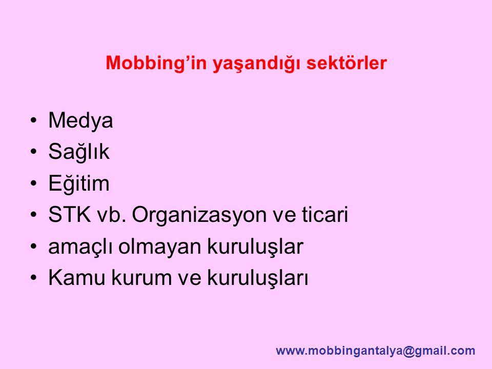 Mobbing'in yaşandığı sektörler Medya Sağlık Eğitim STK vb. Organizasyon ve ticari amaçlı olmayan kuruluşlar Kamu kurum ve kuruluşları www.mobbingantal