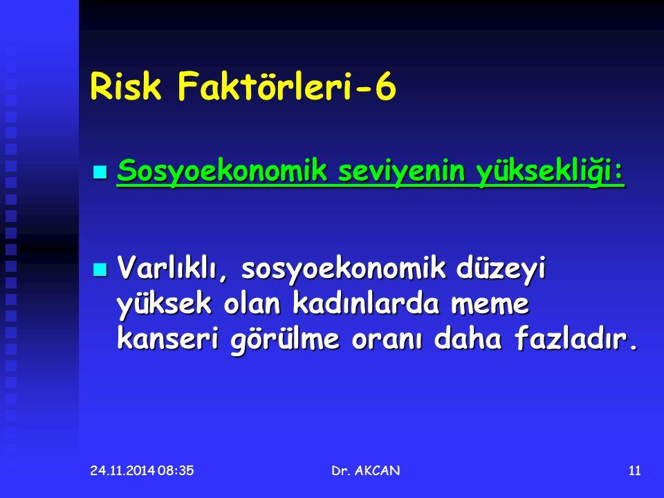 24.11.2014 08:36Dr. AKCAN11 Risk Faktörleri-6 Sosyoekonomik seviyenin yüksekliği: Sosyoekonomik seviyenin yüksekliği: Varlıklı, sosyoekonomik düzeyi y