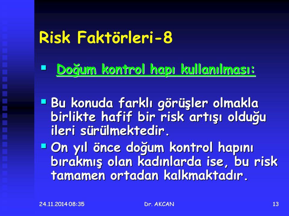 24.11.2014 08:36Dr. AKCAN13 Risk Faktörleri-8  Doğum kontrol hapı kullanılması:  Bu konuda farklı görüşler olmakla birlikte hafif bir risk artışı ol