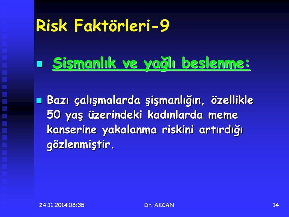 24.11.2014 08:36Dr. AKCAN14 Risk Faktörleri-9 Şişmanlık ve yağlı beslenme: Şişmanlık ve yağlı beslenme: Bazı çalışmalarda şişmanlığın, özellikle 50 ya