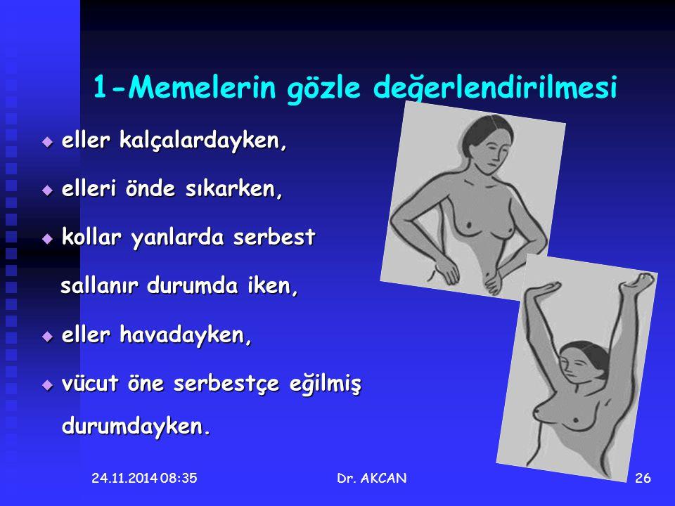 24.11.2014 08:36Dr. AKCAN26 1-Memelerin gözle değerlendirilmesi  eller kalçalardayken,  elleri önde sıkarken,  kollar yanlarda serbest sallanır dur