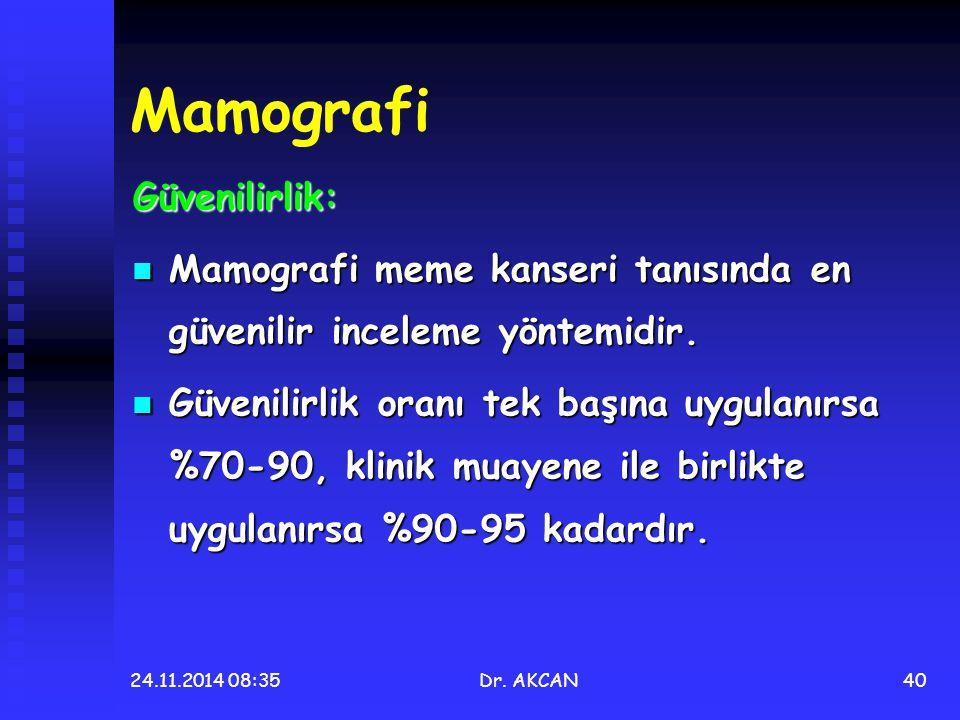 24.11.2014 08:36Dr. AKCAN40 Mamografi Güvenilirlik: Mamografi meme kanseri tanısında en güvenilir inceleme yöntemidir. Mamografi meme kanseri tanısınd