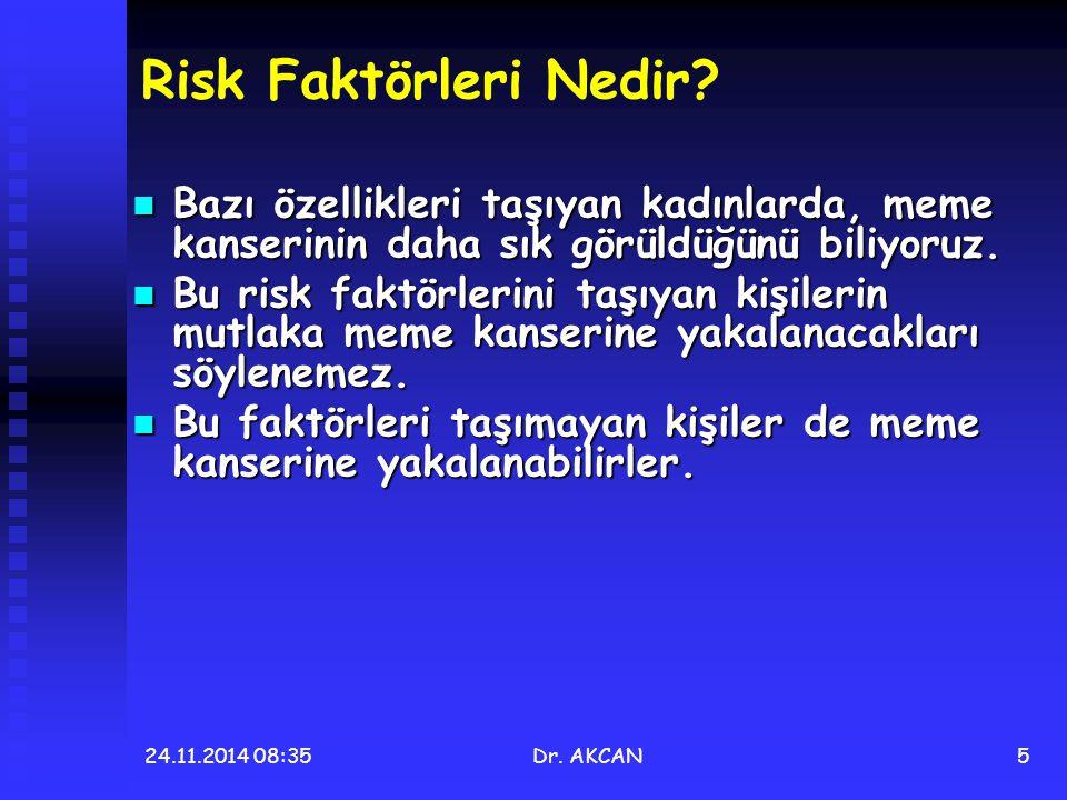 24.11.2014 08:36Dr. AKCAN5 Risk Faktörleri Nedir? Bazı özellikleri taşıyan kadınlarda, meme kanserinin daha sık görüldüğünü biliyoruz. Bazı özellikler