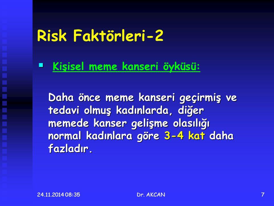 24.11.2014 08:36Dr. AKCAN7 Risk Faktörleri-2   Kişisel meme kanseri öyküsü: Daha önce meme kanseri geçirmiş ve tedavi olmuş kadınlarda, diğer memede