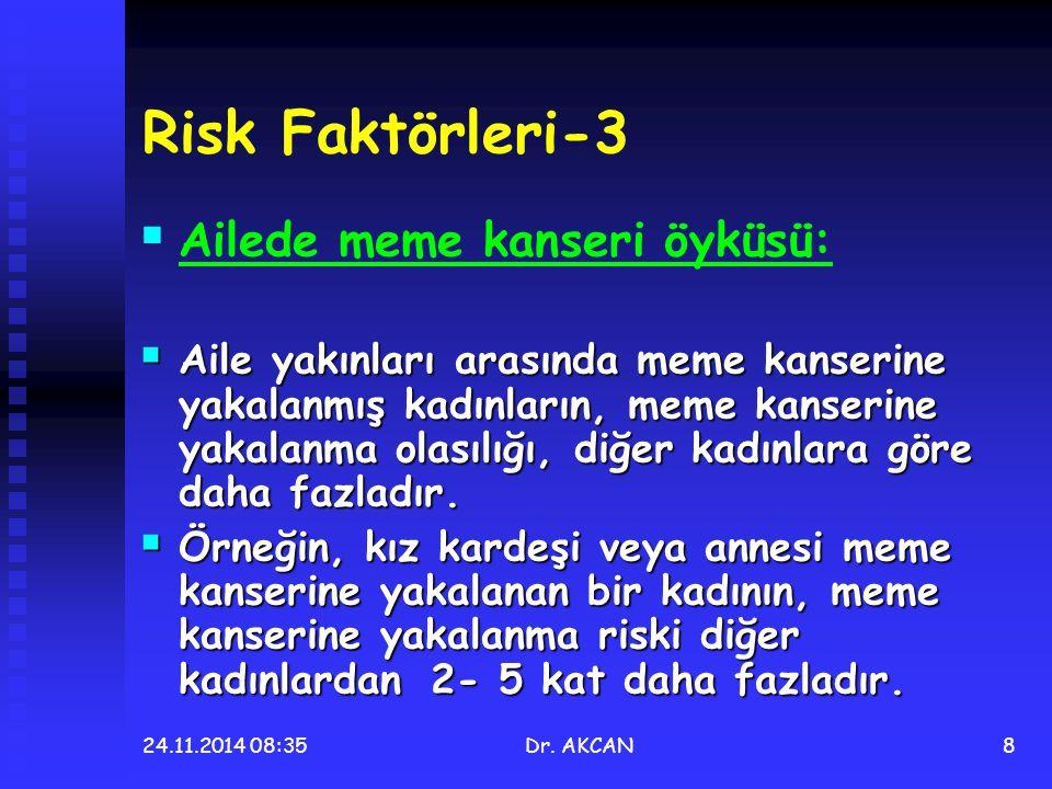 24.11.2014 08:36Dr. AKCAN8 Risk Faktörleri-3   Ailede meme kanseri öyküsü:  Aile yakınları arasında meme kanserine yakalanmış kadınların, meme kans