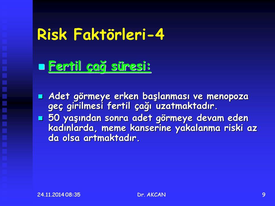 24.11.2014 08:36Dr. AKCAN9 Risk Faktörleri-4 Fertil çağ süresi: Fertil çağ süresi: Adet görmeye erken başlanması ve menopoza geç girilmesi fertil çağı