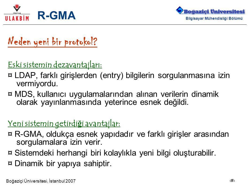 Boğaziçi Üniversitesi, İstanbul 2007 15 Bilgisayar Mühendisliği Bölümü R-GMA Neden yeni bir protokol? Eski sistemin dezavantajları: ¤ LDAP, farklı gir