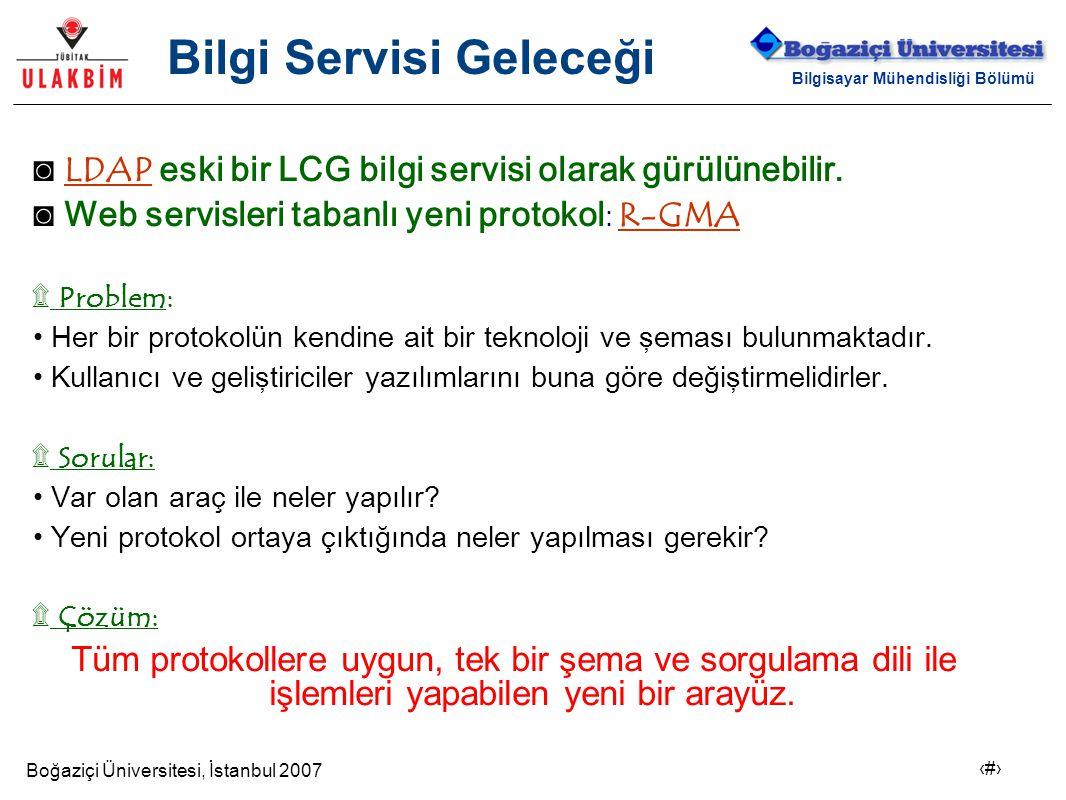 Boğaziçi Üniversitesi, İstanbul 2007 19 Bilgisayar Mühendisliği Bölümü Bilgi Servisi Geleceği ◙ LDAP eski bir LCG bilgi servisi olarak gürülünebilir.