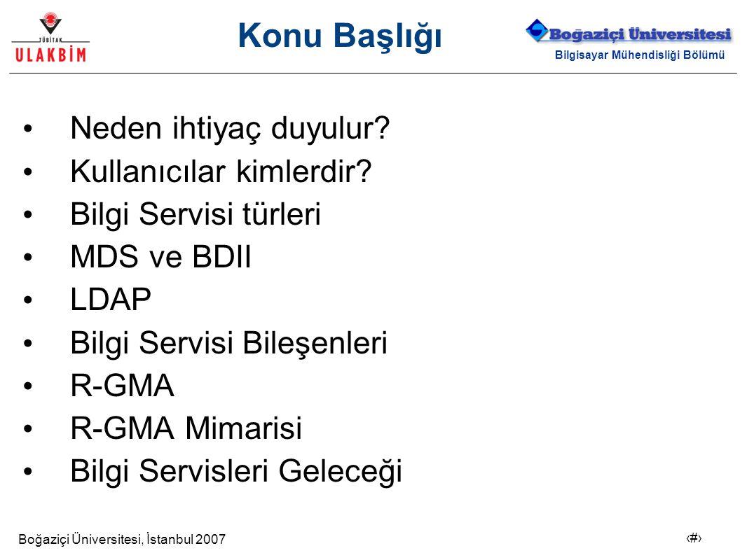 Boğaziçi Üniversitesi, İstanbul 2007 2 Bilgisayar Mühendisliği Bölümü Konu Başlığı Neden ihtiyaç duyulur? Kullanıcılar kimlerdir? Bilgi Servisi türler