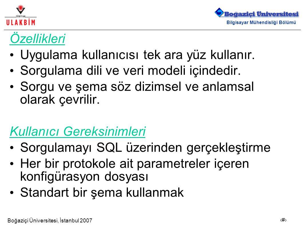 Boğaziçi Üniversitesi, İstanbul 2007 20 Bilgisayar Mühendisliği Bölümü Özellikleri Uygulama kullanıcısı tek ara yüz kullanır. Sorgulama dili ve veri m