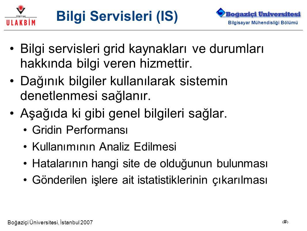 Boğaziçi Üniversitesi, İstanbul 2007 3 Bilgisayar Mühendisliği Bölümü Bilgi Servisleri (IS) Bilgi servisleri grid kaynakları ve durumları hakkında bil